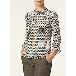 Dorothy Perkins - Petite camel geo print blouse
