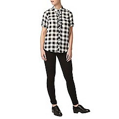 Dorothy Perkins - Petite black check frill shirt