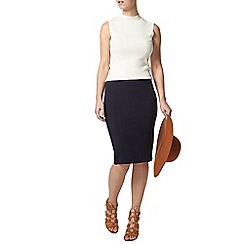 Dorothy Perkins - Petite navy coloumn skirt