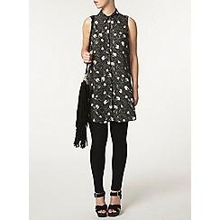 Dorothy Perkins - Petite black floral maxi shirt