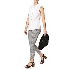 Dorothy Perkins - Petite navy print trousers