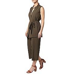 Dorothy Perkins - Petite khaki wide crop trouser