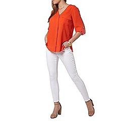 Dorothy Perkins - Petite red roll sleeve shirt