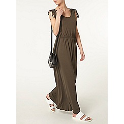 Dorothy Perkins - Petite khaki tie maxi dress