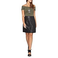 Dorothy Perkins - Petite black pu a-line skirt