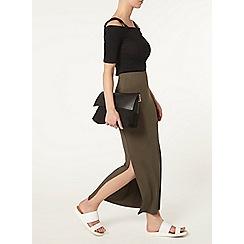 Dorothy Perkins - Petite khaki maxi skirt