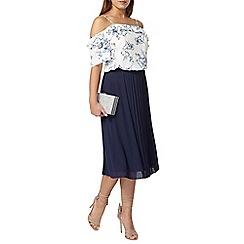 Dorothy Perkins - Petite navy pleated midi skirt