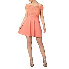 Dorothy Perkins - Petite coral lace bardot dress