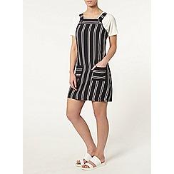 Dorothy Perkins - Petite navy stripe pinafore dress