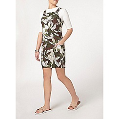 Dorothy Perkins - Petite chocolate floral pinafore dress