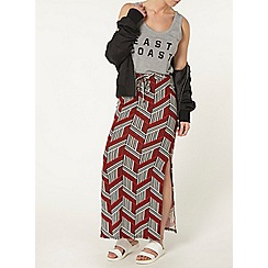Dorothy Perkins - Petite red print maxi skirt
