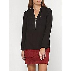 Dorothy Perkins - Petite black zip blouse