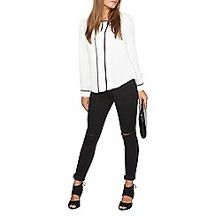 Dorothy Perkins - Petite ivory piped lace blouse