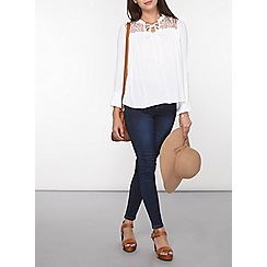 Dorothy Perkins - Petite white lace panel blouse