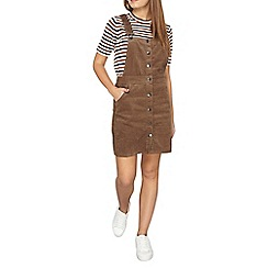 Dorothy Perkins - Petite khaki button pinny dress