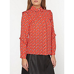 Dorothy Perkins - Petite red floral ruffle shirt