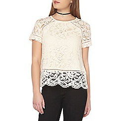 Dorothy Perkins - Petite champagne lace t-shirt
