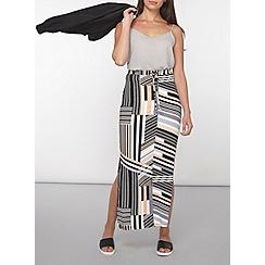 Dorothy Perkins - Petite coral stripe maxi skirt