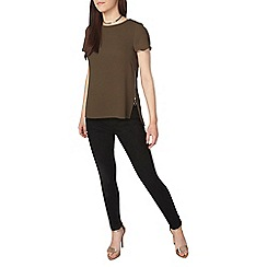 Dorothy Perkins - Petite khaki zip side t-shirt
