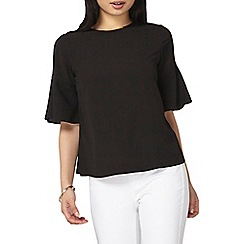 Dorothy Perkins - Petite black flute sleeves blouse