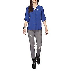 Dorothy Perkins - Cobalt zip roll sleeves shirt