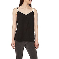Dorothy Perkins - Petite black button front cami top