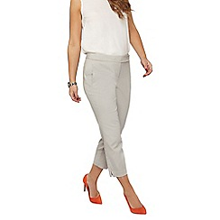 Dorothy Perkins - Petite grey cotton sateen cropped trousers