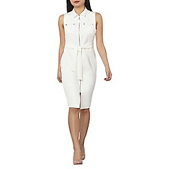 Dorothy Perkins - Petite white belted shirt dress