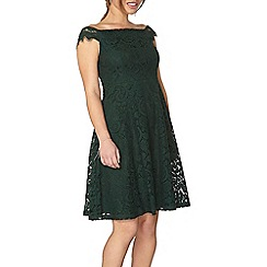 Dorothy Perkins - Petite green lace bardot dress