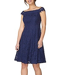 Dorothy Perkins - Petite navy lace bardot dress