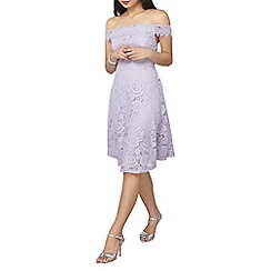 Dorothy Perkins - Petite lilac lace bardot dress