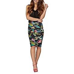 Dorothy Perkins - Petite black tropical skirt