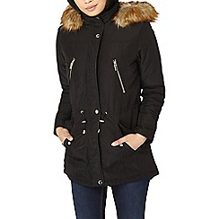 Dorothy Perkins - Petite black parka with faux fur hood