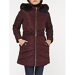 Dorothy Perkins - Petite berry belted longline padded coat