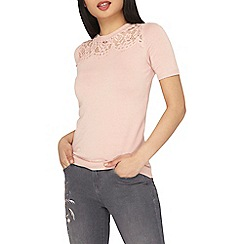 Dorothy Perkins - Petite pink lace knitted t-shirt