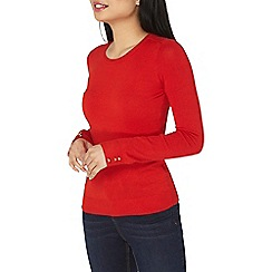 Dorothy Perkins - Petite red button cuff jumper