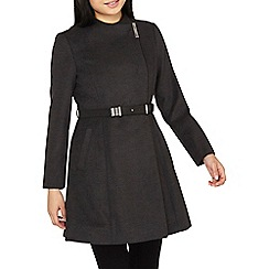 Dorothy Perkins - Petite charcoal belted wrap coat