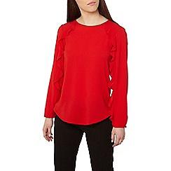 Dorothy Perkins - Petite red ruffle sleeves top