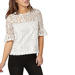 Dorothy Perkins - Petite ivory lace fluted top