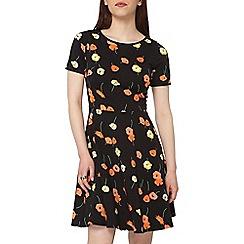 Dorothy Perkins - Petite black poppy print swing dress