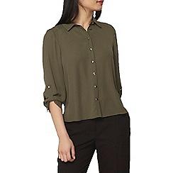 Dorothy Perkins - Petite khaki roll sleeves shirt