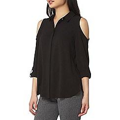 Dorothy Perkins - Petite black cold shoulder shirt