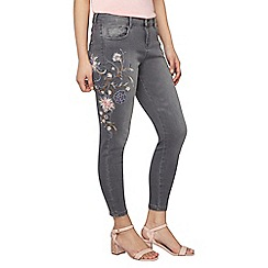 Dorothy Perkins - Petite grey embroidered jeans