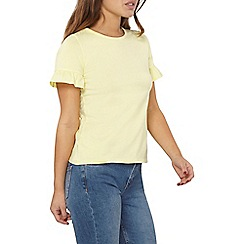 Dorothy Perkins - Petite lemon flutter sleeves top