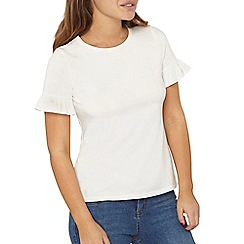 Dorothy Perkins - Petite ivory flutter sleeves top