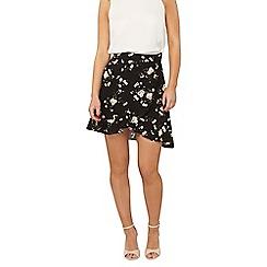 Dorothy Perkins - Petites black floral skirt
