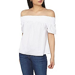 Dorothy Perkins - Petite white tie back bardot top
