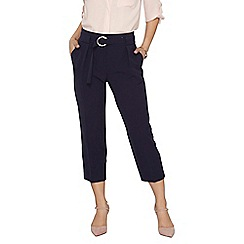 Dorothy Perkins - Petite navy crepe tie waist trousers