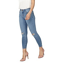 Dorothy Perkins - Petite mid wash rip knee darcy jeans