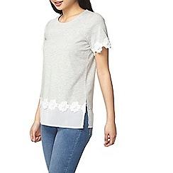 Dorothy Perkins - Petite grey lace hem 2in1 t-shirt